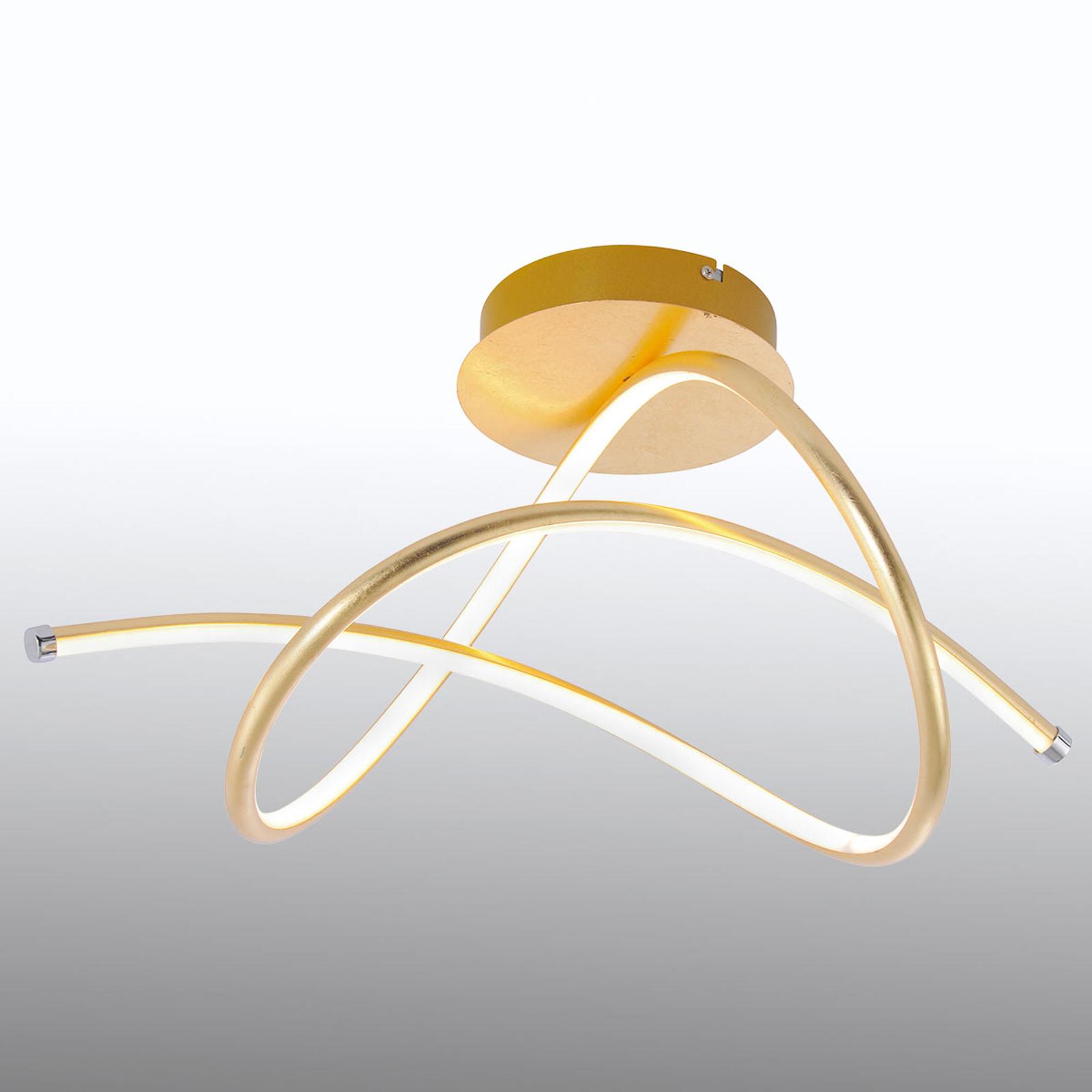Lampa sufitowa LED Violetta, zakrzywiona, złota