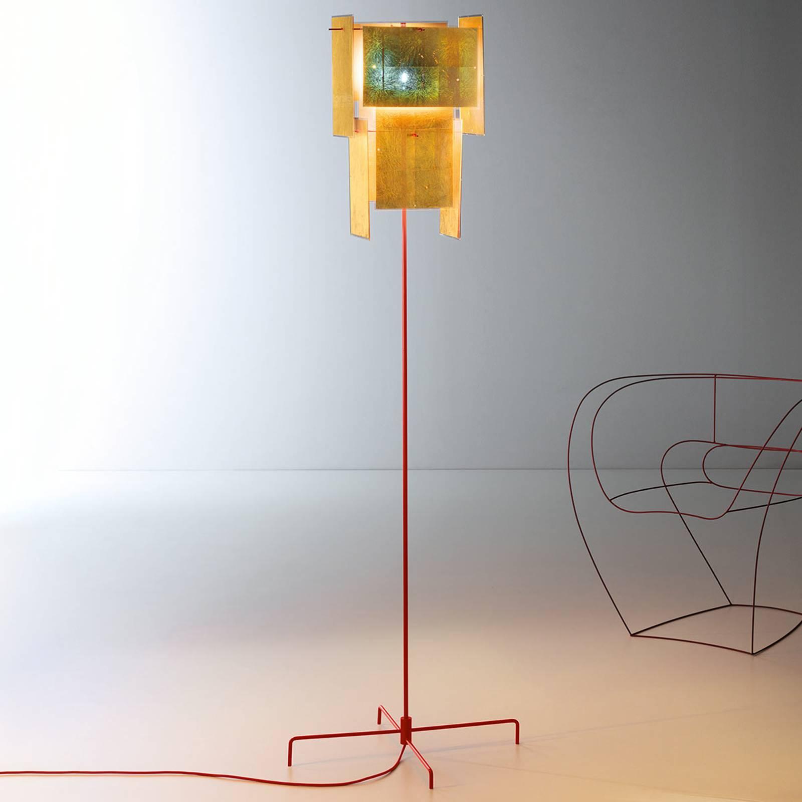 Ingo Maurer 24 karaat blauw vloerlamp, rode staaf