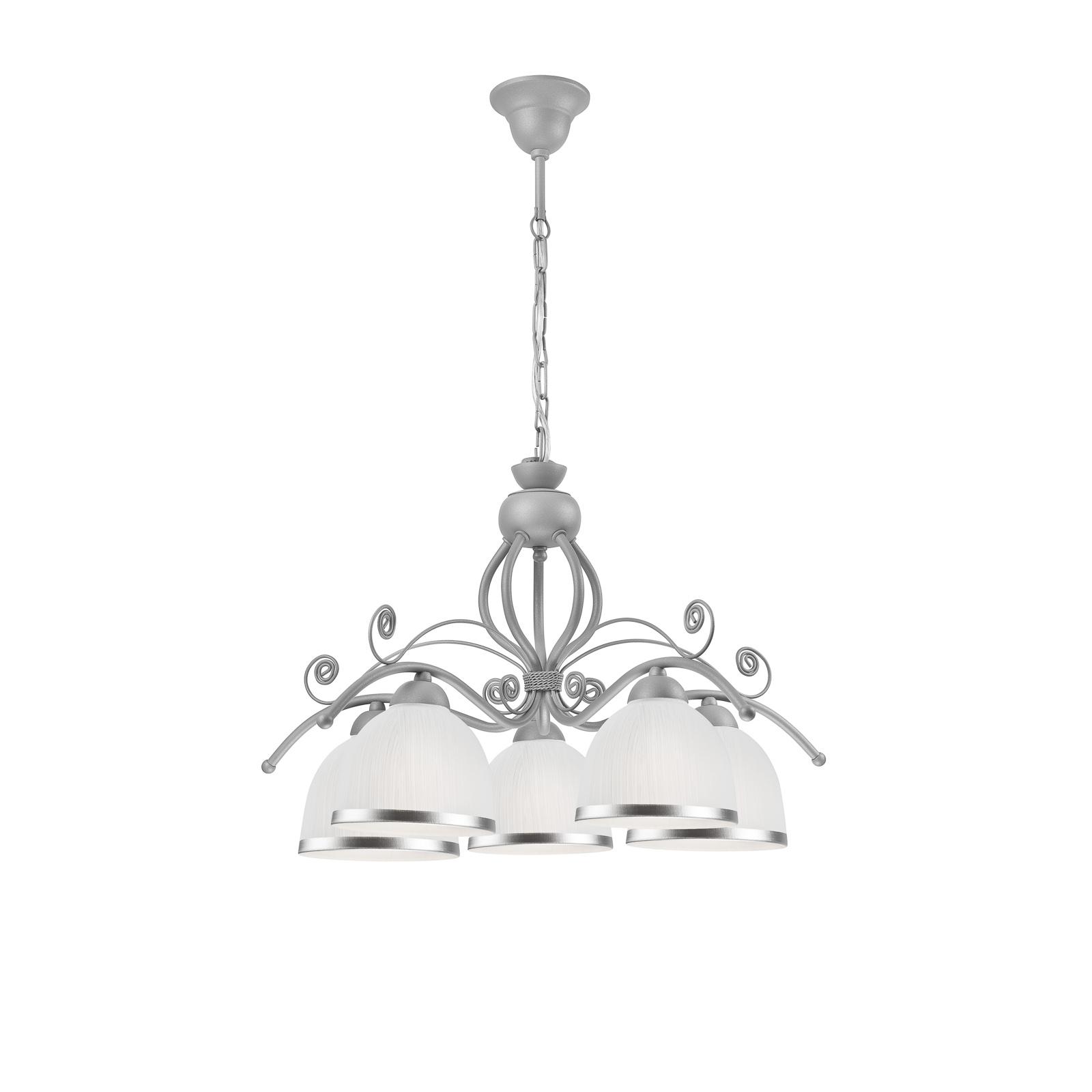 Roma hængelampe i hvid og sølv, 5 lyskilder