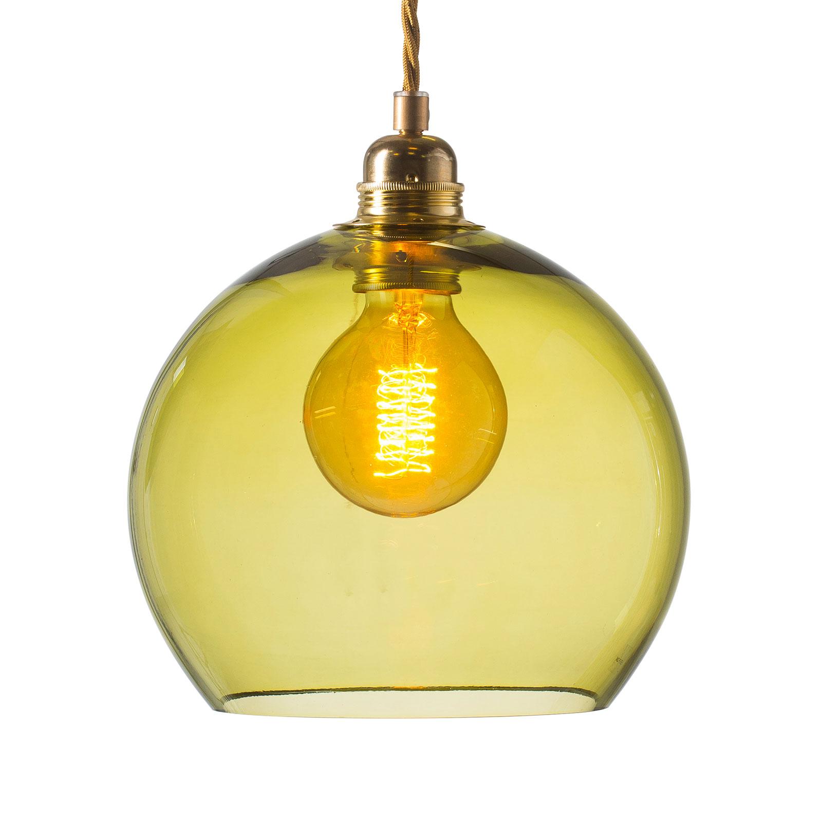EBB & FLOW Rowan hængelampe guld/olivengrøn Ø 22cm