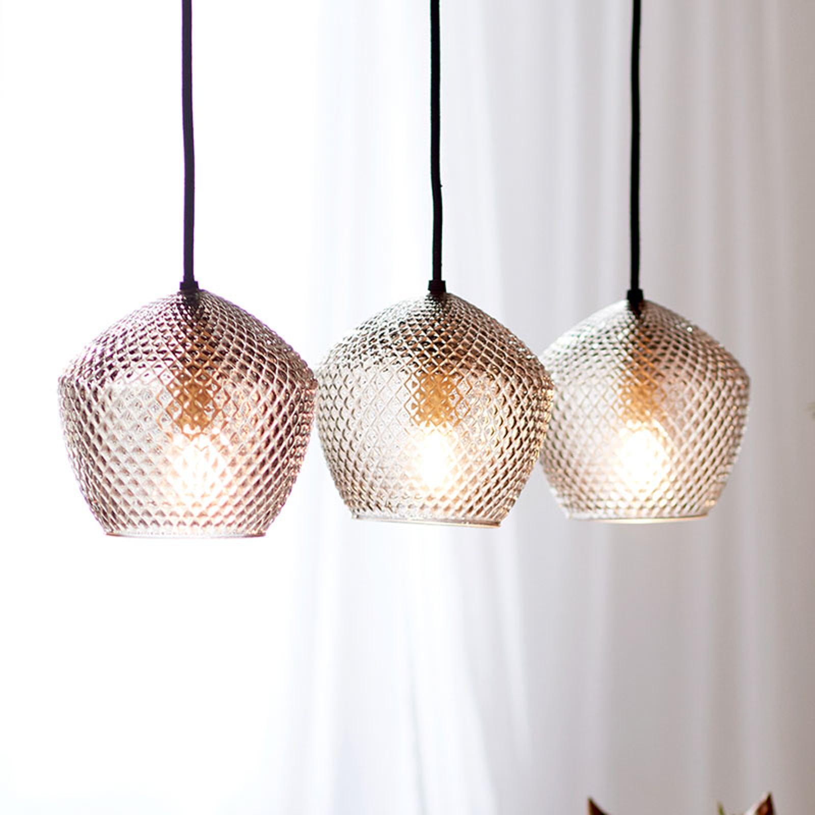 Lampa wisząca Orbiform trzy klosze dymione szkło