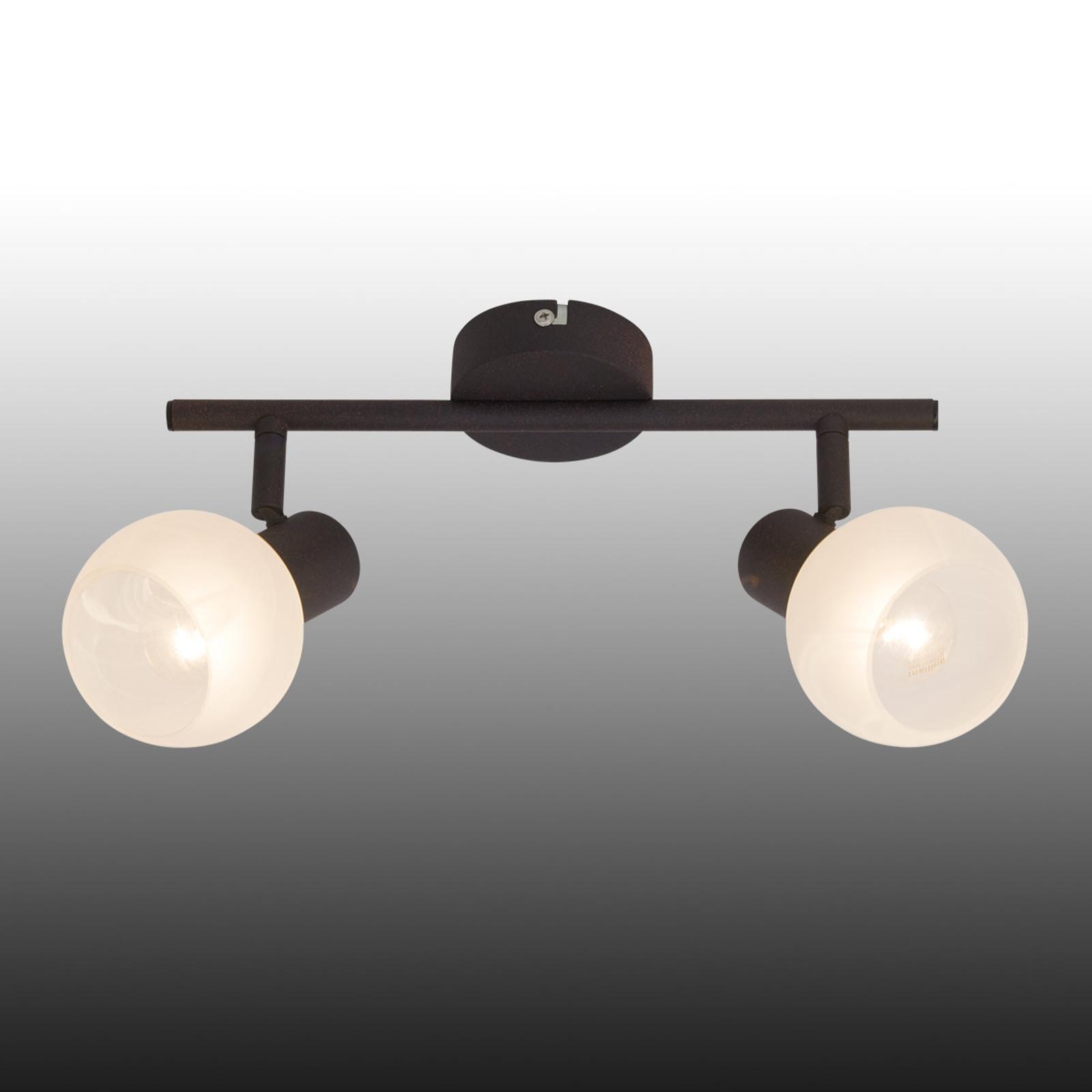 Plafonnier Gabon à 2 lampes, brun et blanc