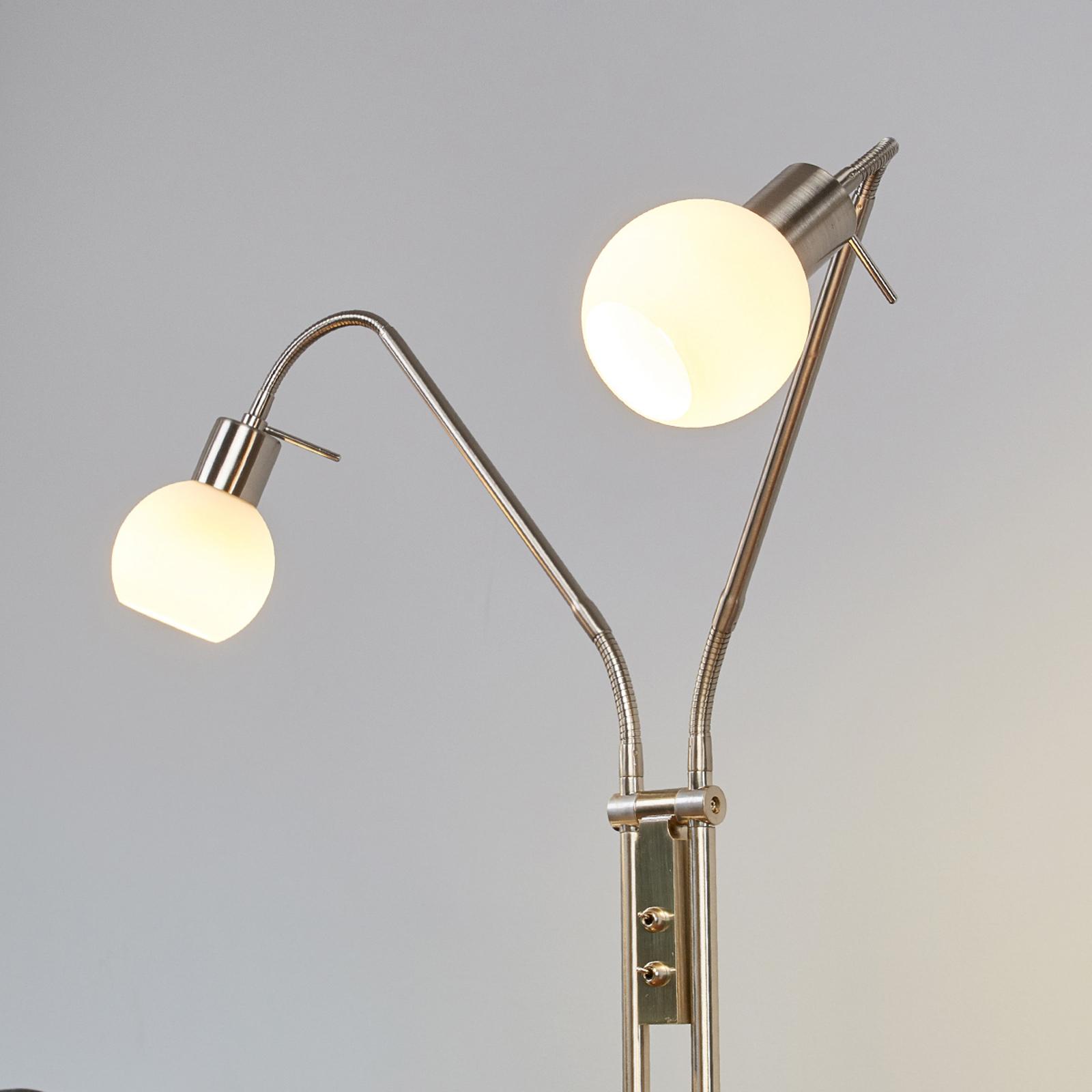 2-punktowa lampa stojąca LED ELAINA, matowy nikiel