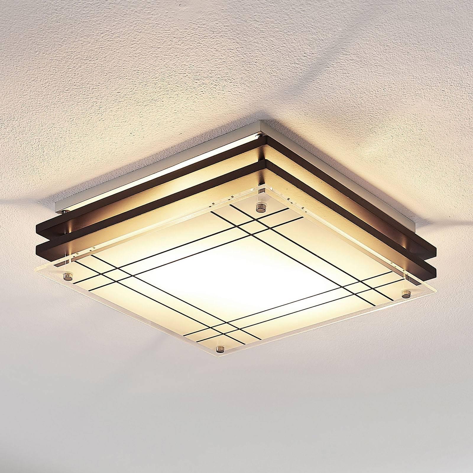 Houten plafondlamp Thees met geruit glas, 31 cm