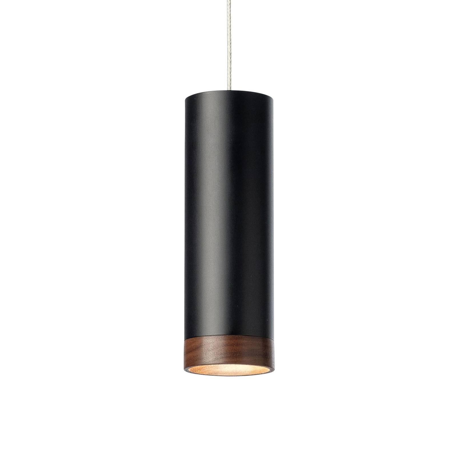 Suspension LED PHEB, noire/noyer