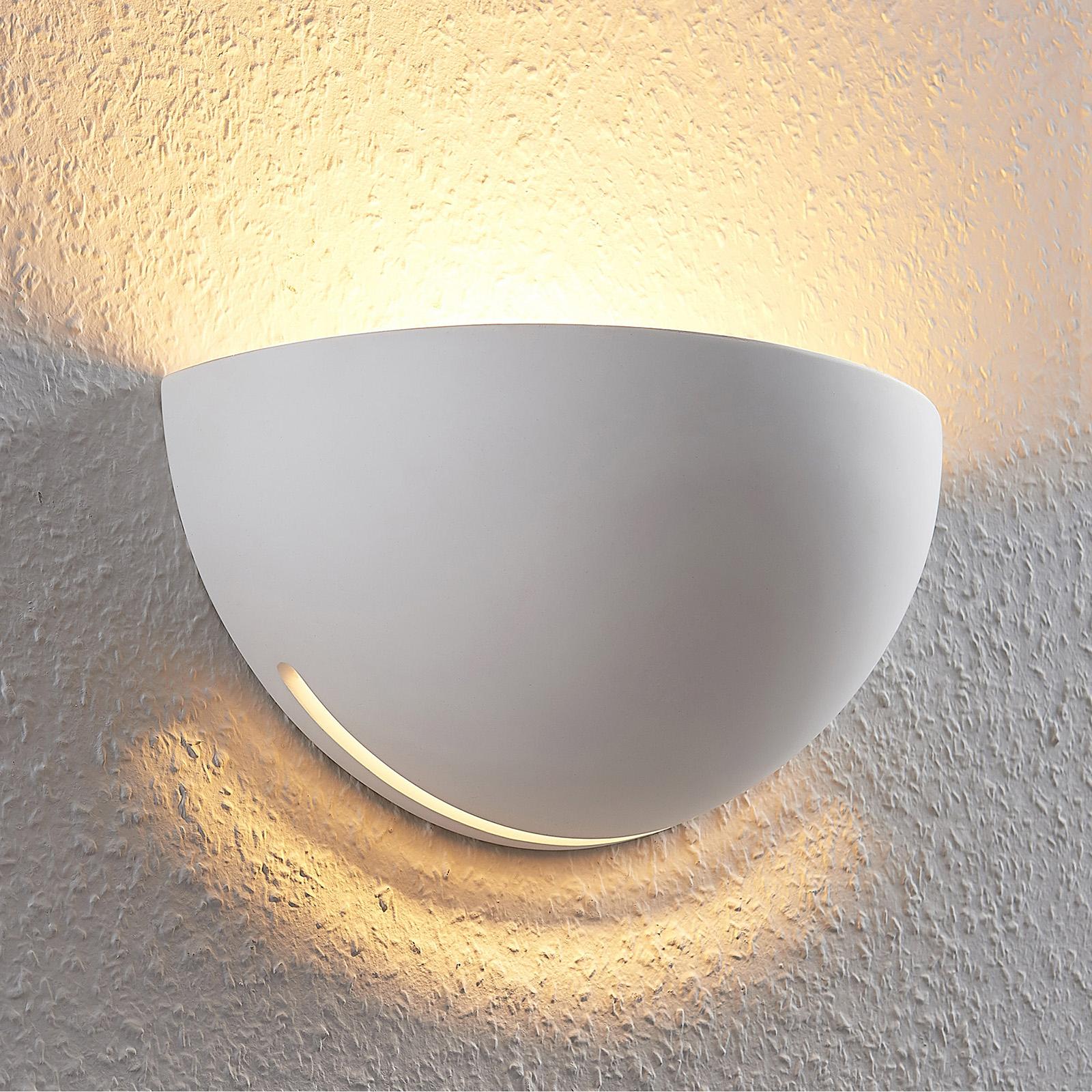 Sádrový nástěnný reflektor Jaron, bílý, půlkruhový