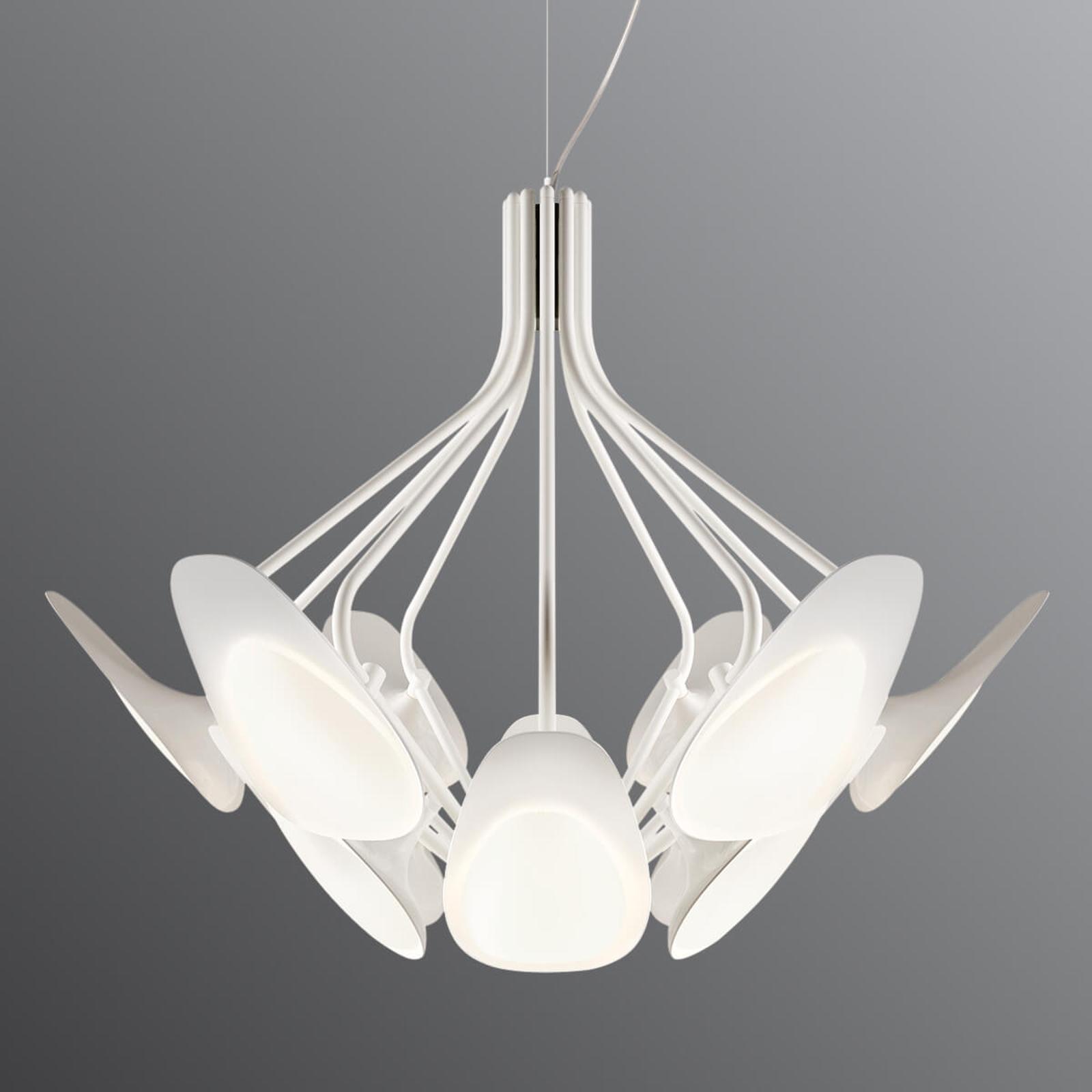LED-hengelampe Peacock, hvit, tolv lys
