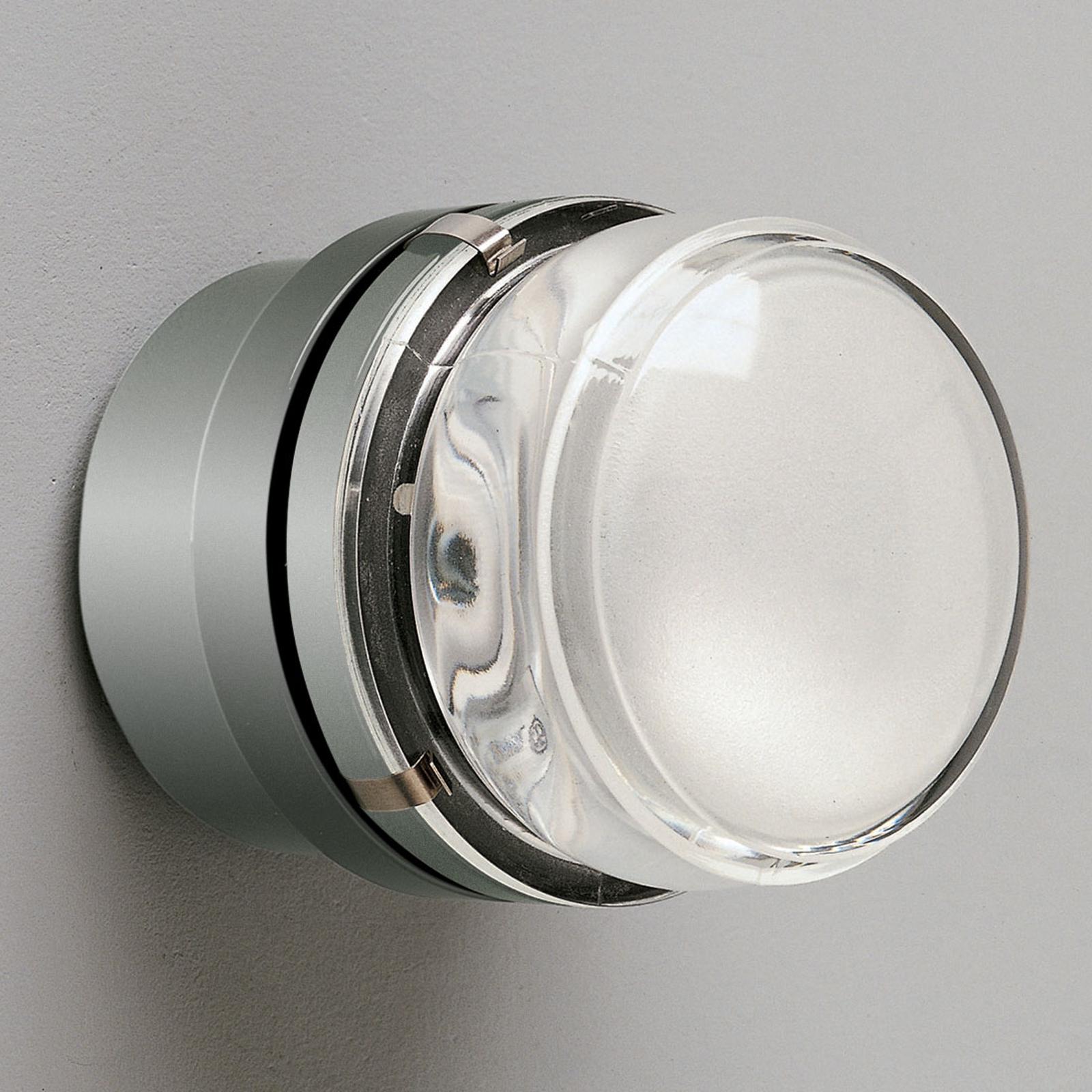Oluce Fresnel - vägglampa med glaslins IP44 krom