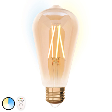 iDual bombilla LED E27 ST64 9W, control remoto