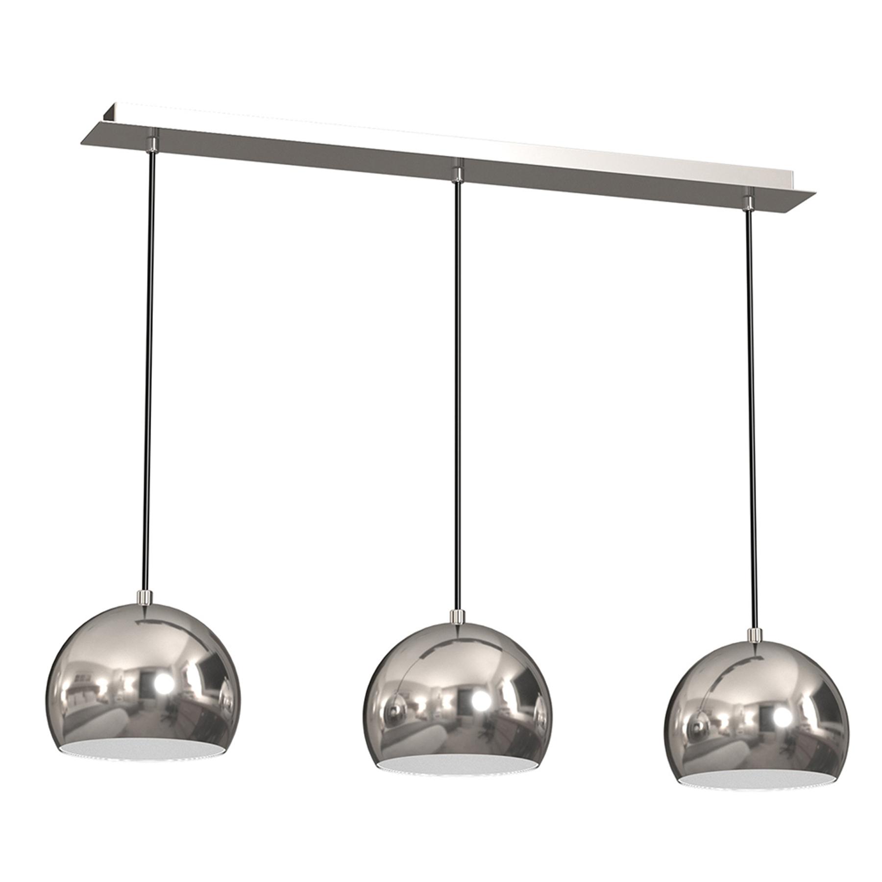 Lampa wisząca Cool, 3-punktowa liniowa, chrom