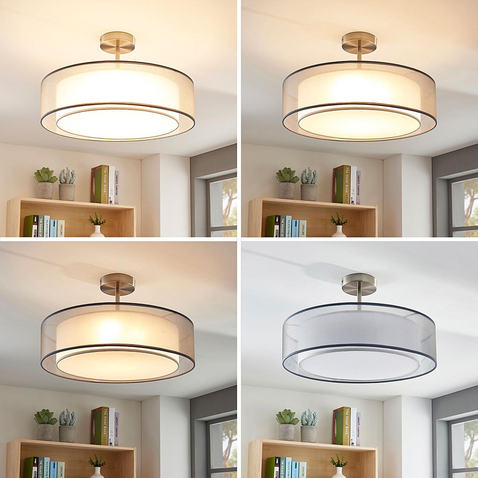 LED-taklampe Pikka, 3-trinns dimbar, grå