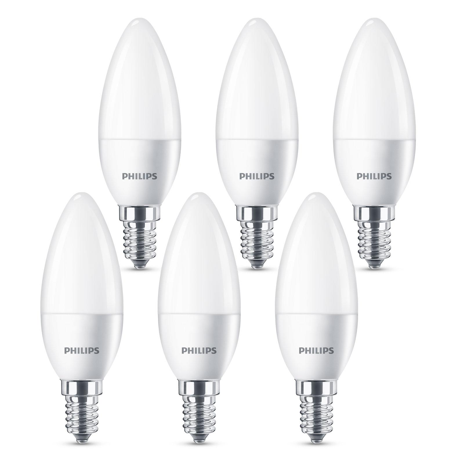 Philips LED-Lampe E14 B35 5,5W matt 6er-Pack