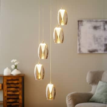 Lampada LED sospens. Metropolis vetro fumè 5 luci
