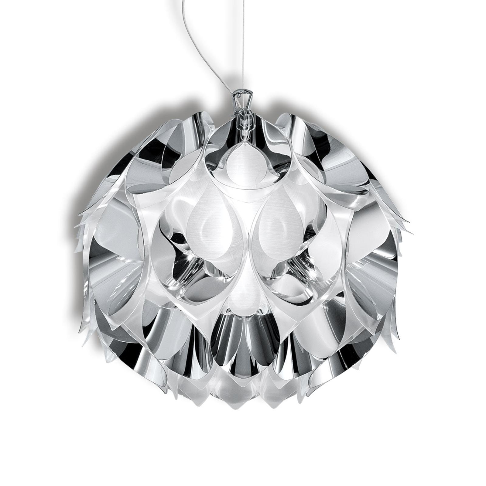 Czarująca lampa wisząca FLORA, srebrna, 36 cm