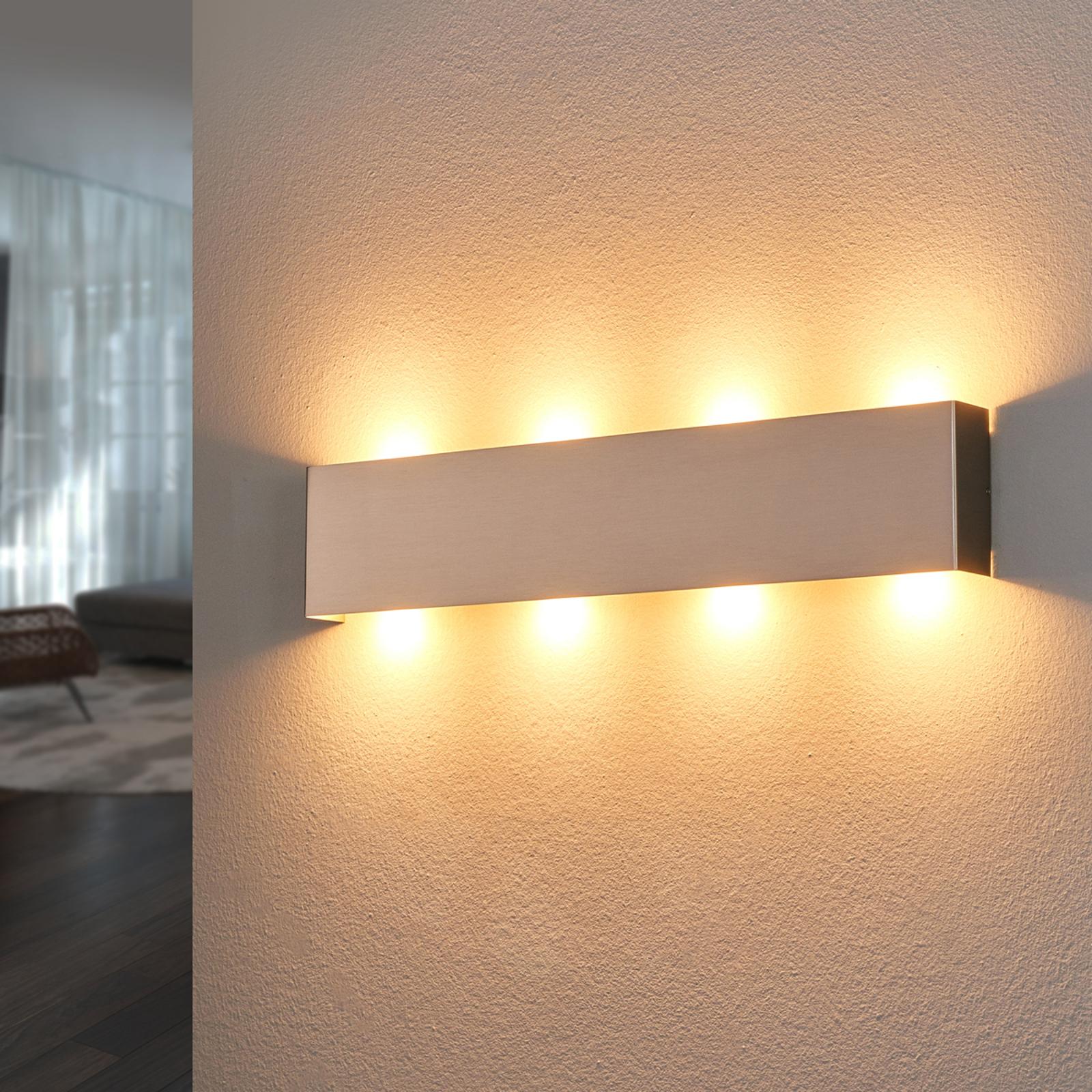LED nástěnné světlo Maja vbarvě niklu, 54cm