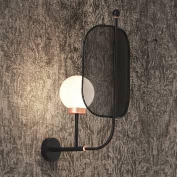 Aplique Papilio A1 G, vidrio Murano 68 cm negro