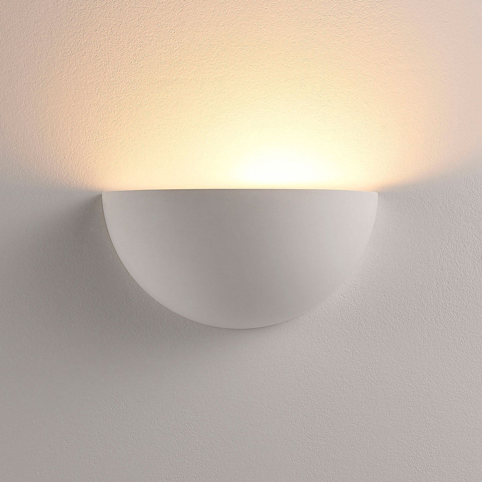 Halfronde LED uplight wandlamp Nahrin gips, wit