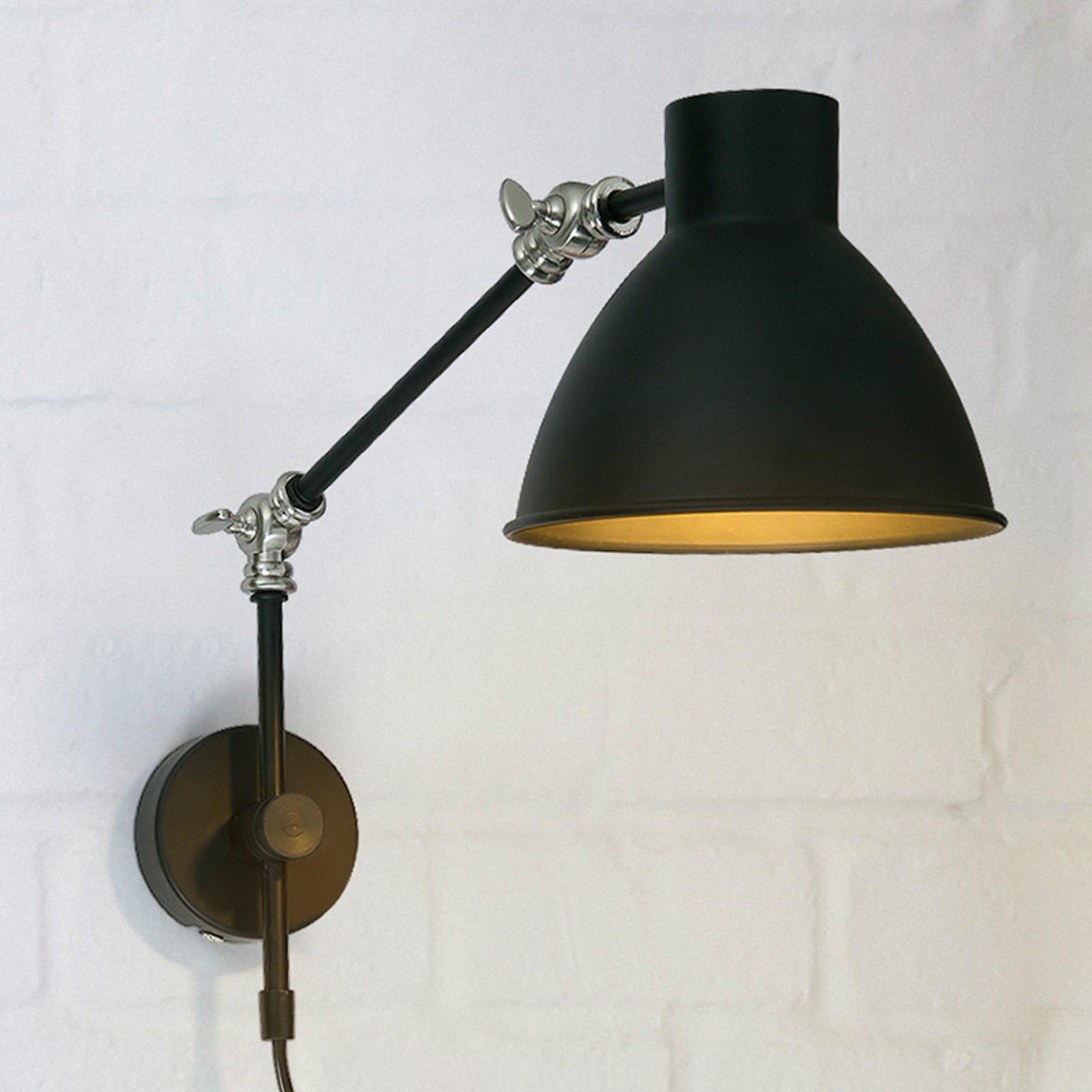 Wandlamp Celia, verstelbaar, zwart