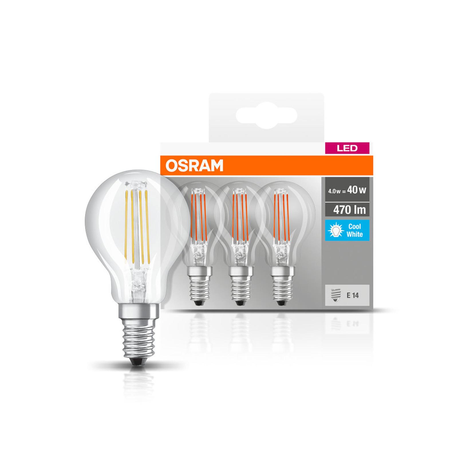 OSRAM LED-Lampe E14 P40 4W Filament 840 470lm 3er