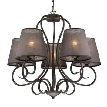 Kroonluchter Midgrad, 5-lamps, antraciet