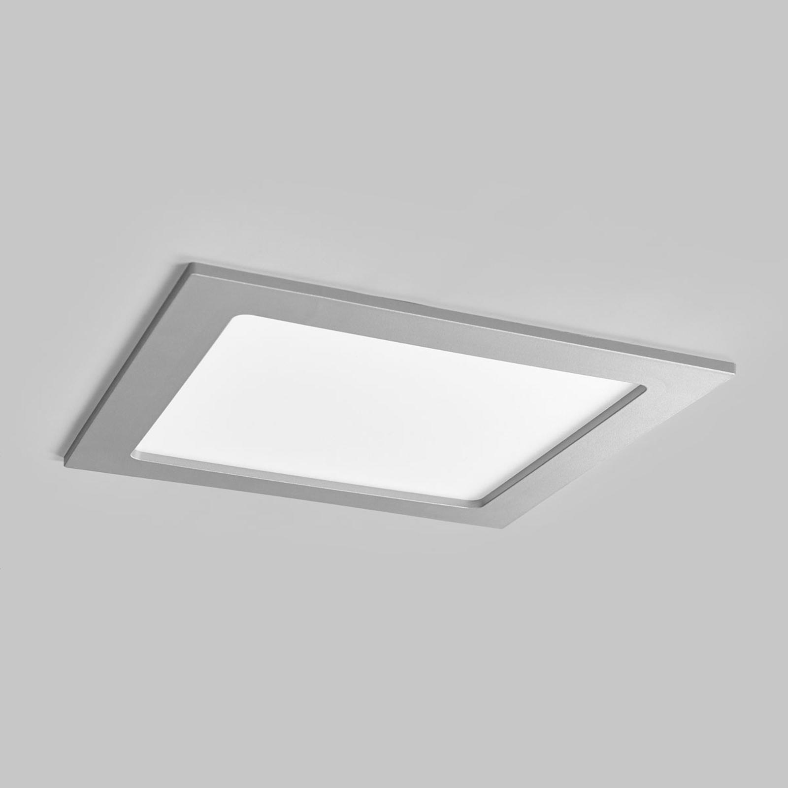 Joki LED-indbygningsspot sølv 3000K kantet 22cm