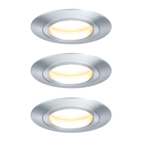 Paulmann lot 3 spots LED Coin, 7W, dimmable, alu