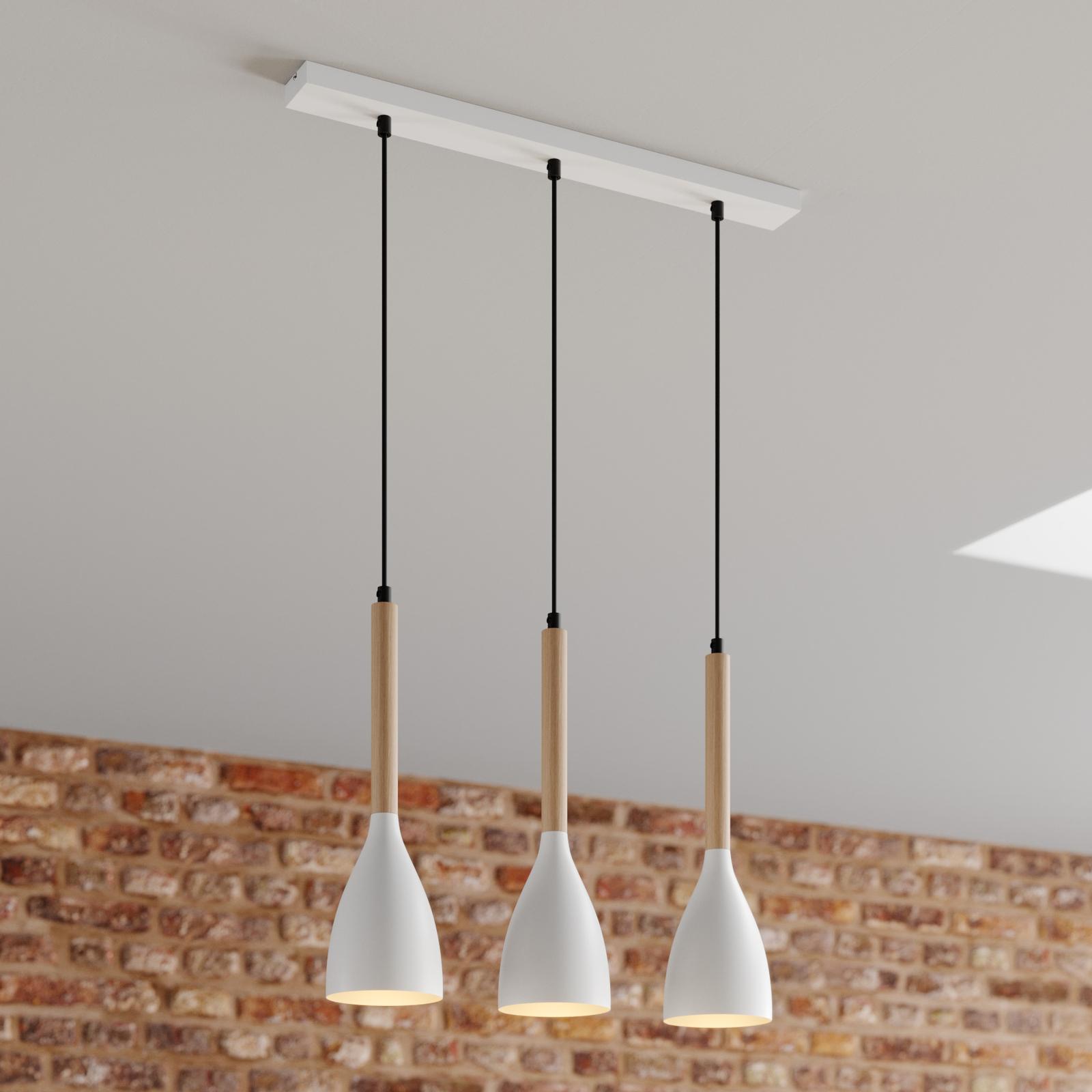 Suspension Muza à 3 lampes, blanche/dorée
