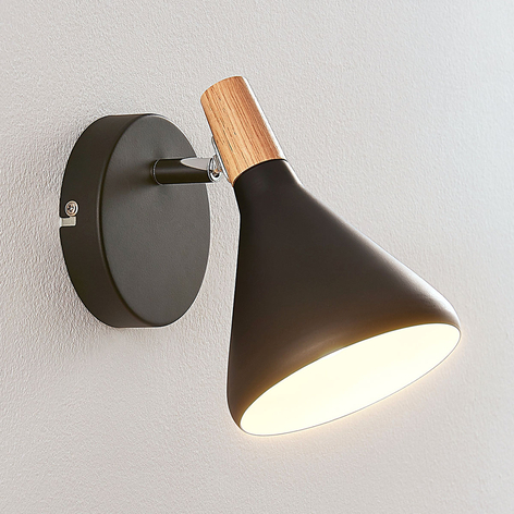 Zwarte LED wandlamp Arina met hout