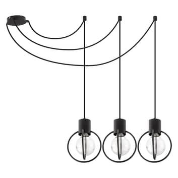 Lampa wisząca Aura 3, 3-punktowa, czarna