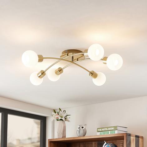 Lindby Agmar LED-Deckenleuchte, messing, 6-fl.
