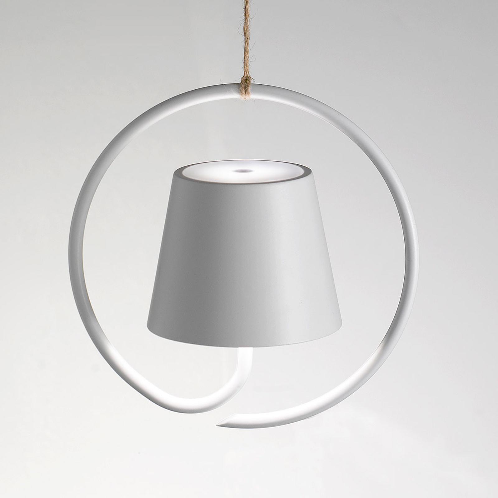 Suspension LED Poldina sur batterie, blanc