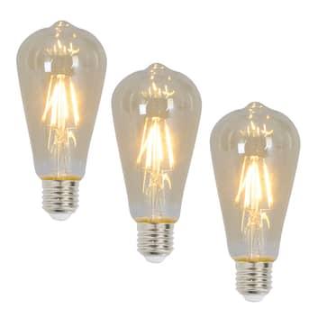 Rustik LED-pære E27 4 Watt 300 Lumen 3 stk 2.200 K