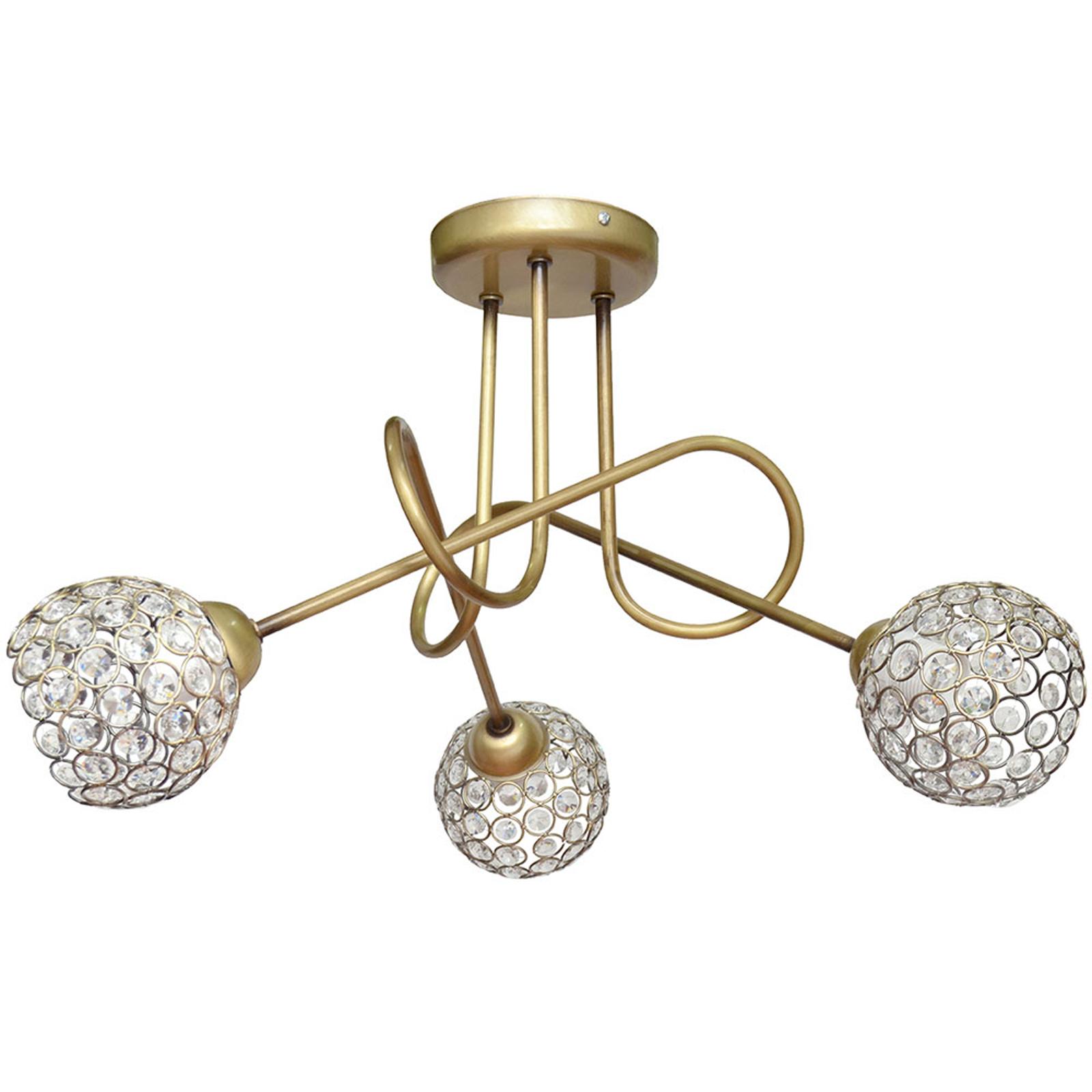 Plafonnier Oxford en doré avec cristaux à 3 lampes
