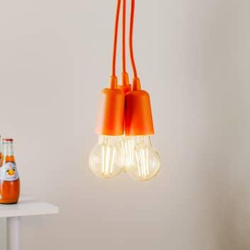 Závěsné světlo Brasil, oranžové, tři zdroje