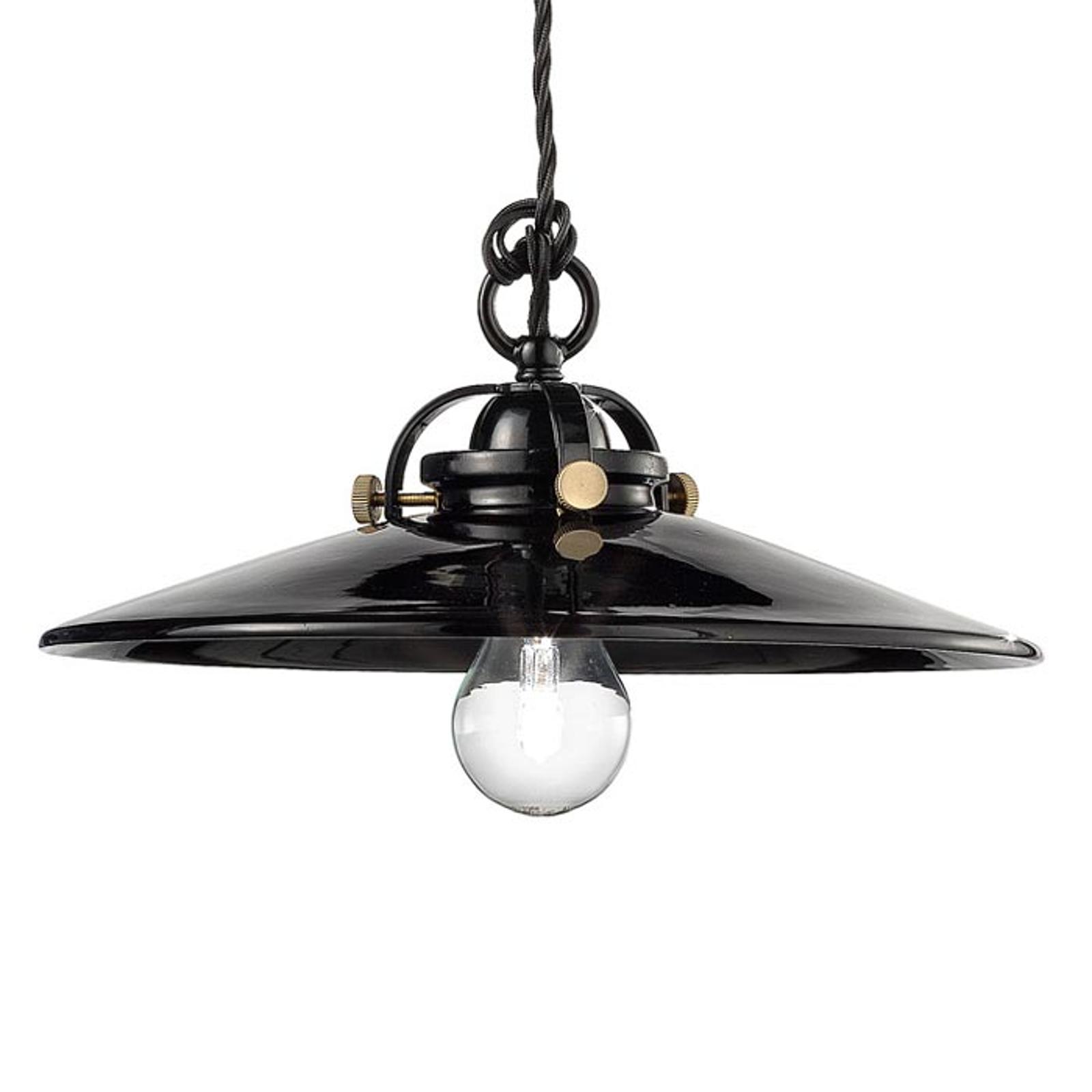 Zwarte keramische hanglamp Edoardo, 31 cm