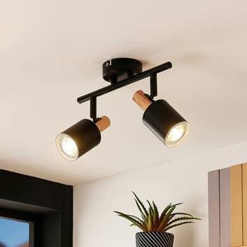 Lindby Junes LED plafondspot 2-lamps, zwart