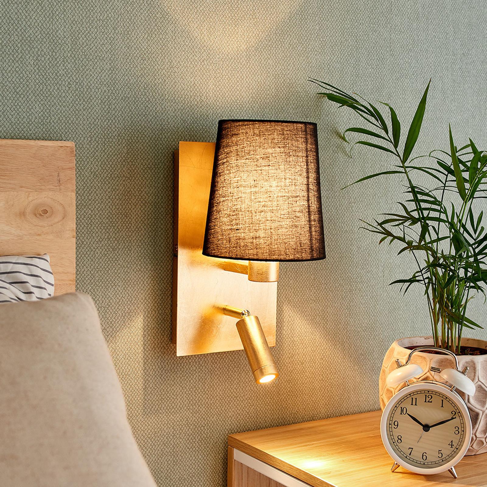 Vegglampe Aiden med LED-leselys, svart, gull