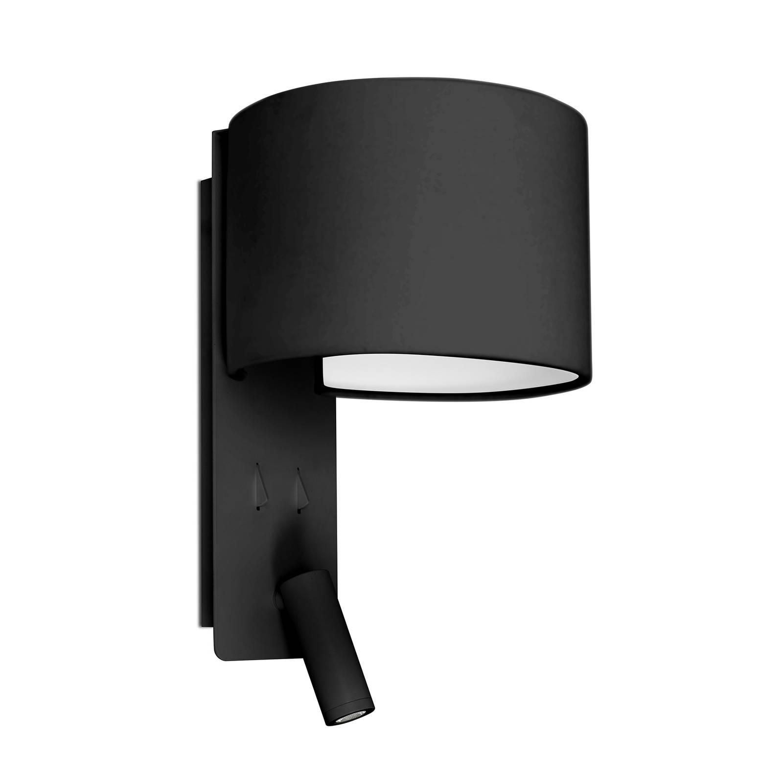 Wandleuchte Fold mit LED-Leseleuchte, schwarz
