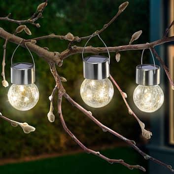 LED-solcellelampe Crackle Ball 3-delt sæt, 3.000 K