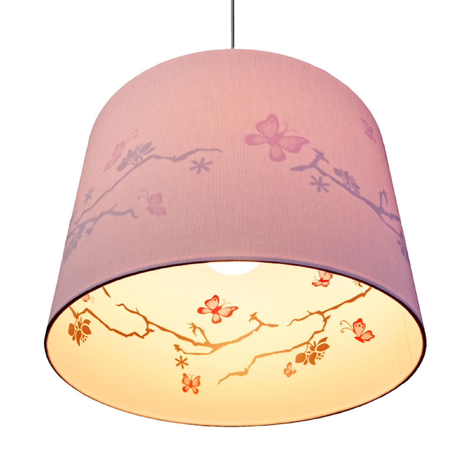 Carla - roze hanglamp, bedrukte binnenzijde