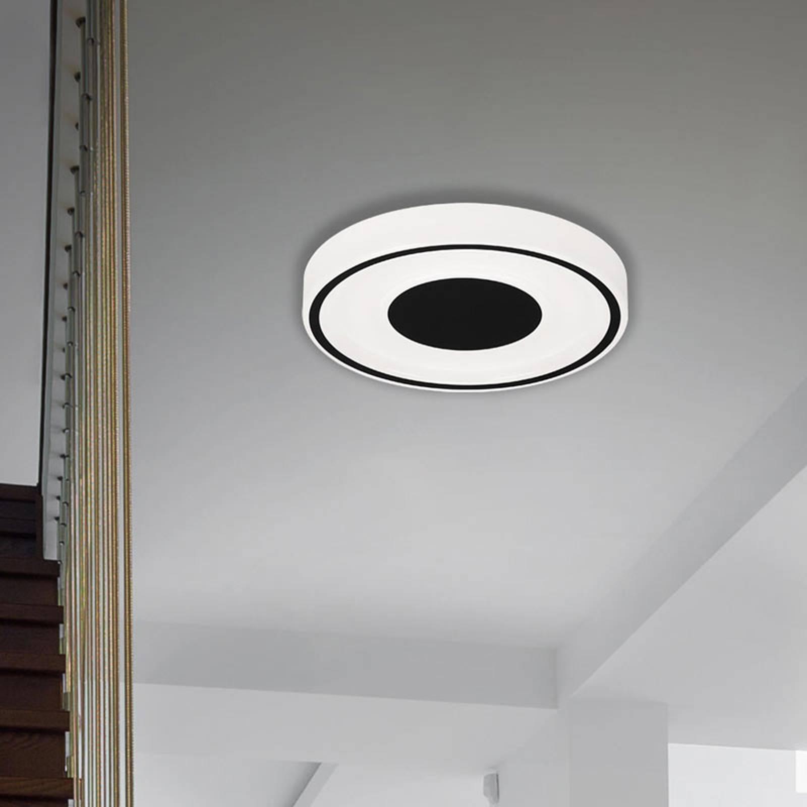 LED plafondlamp Bricks, rond, zwart