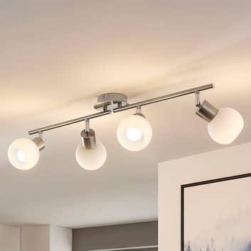 LámparaLED de techoElaina, 4 luces, níquel mate