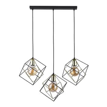 Lámpara colgante Alambre 3 luces linear, oro/negro