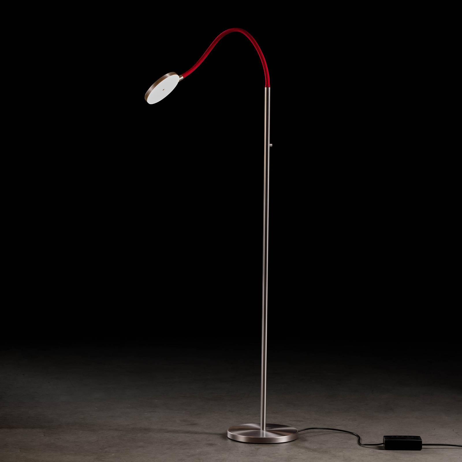 Holtkötter Flex S LED-Stehleuchte alu matt/rot