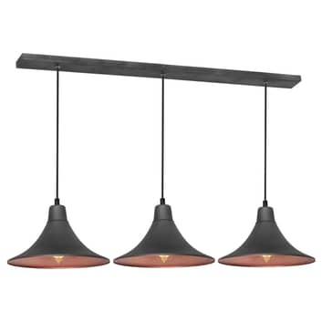 Lampada a sospensione 785, 3 luci, grafite/rame