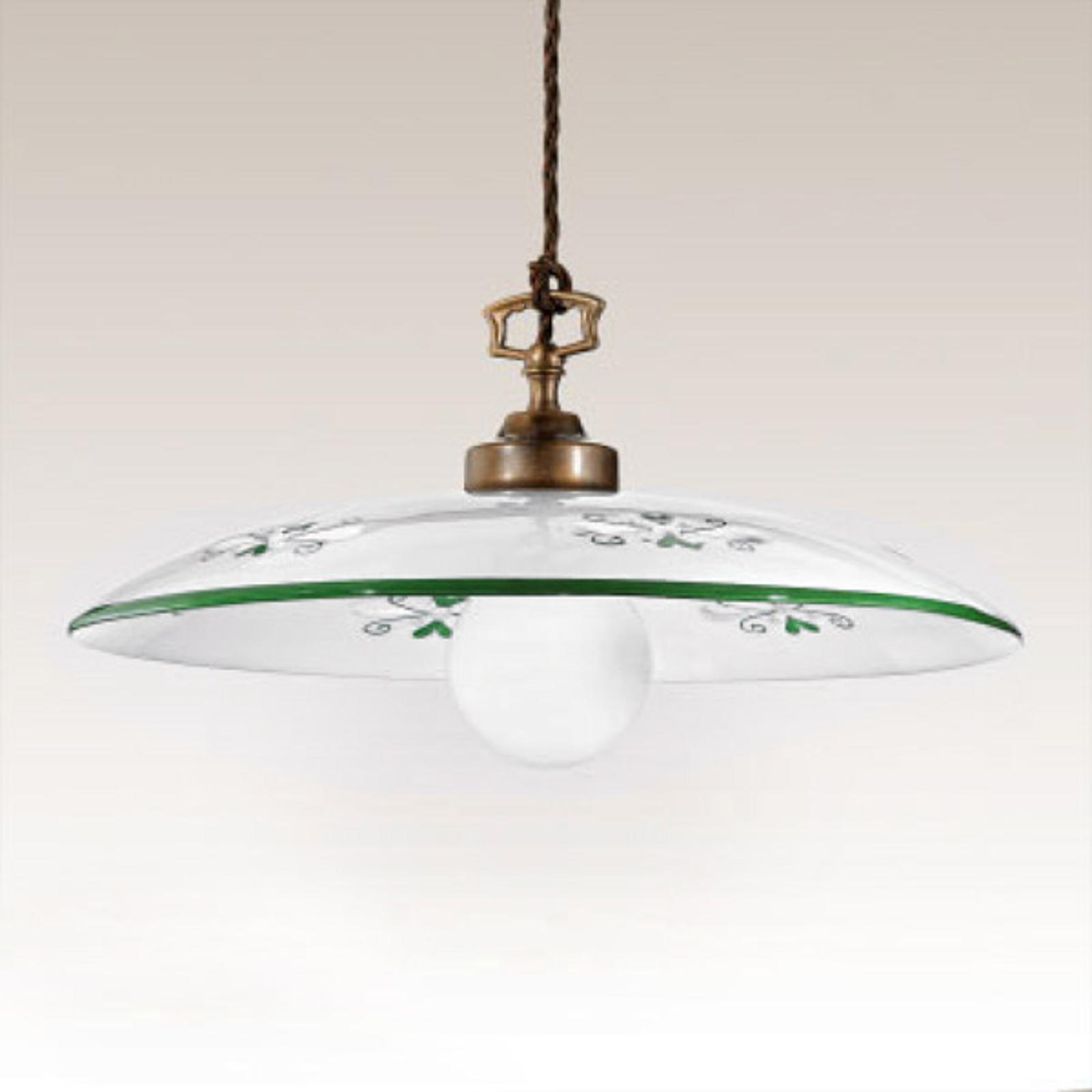 Sospensione Bassano, 1 luce, dettagli verdi