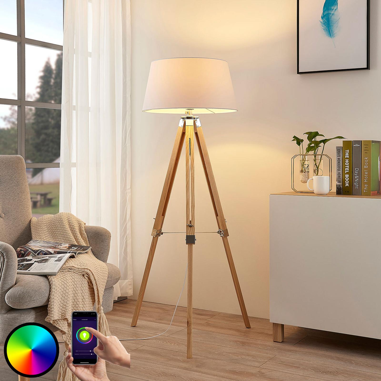 Lampada LED da pavimento Alessa, treppiede, RGB