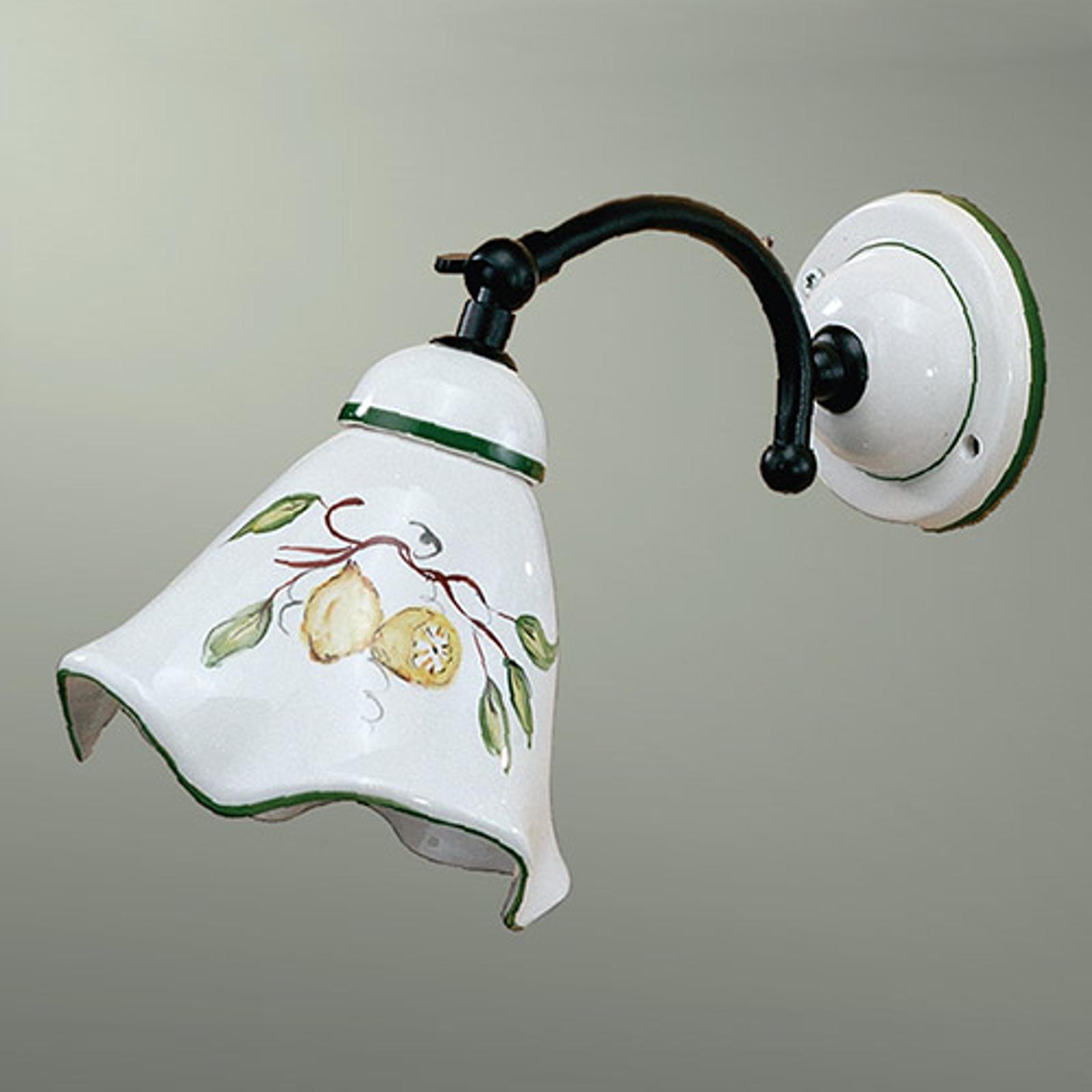 Væglampe i keramik Felicia, m. citronmønster