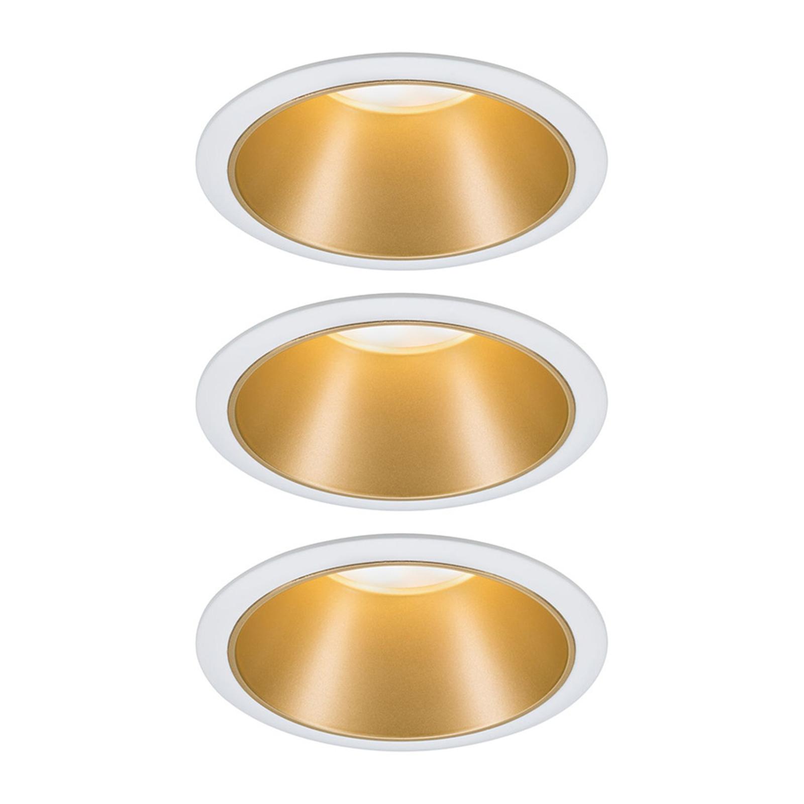 Paulmann Cole LED-spot, guld-hvid, sæt med 3