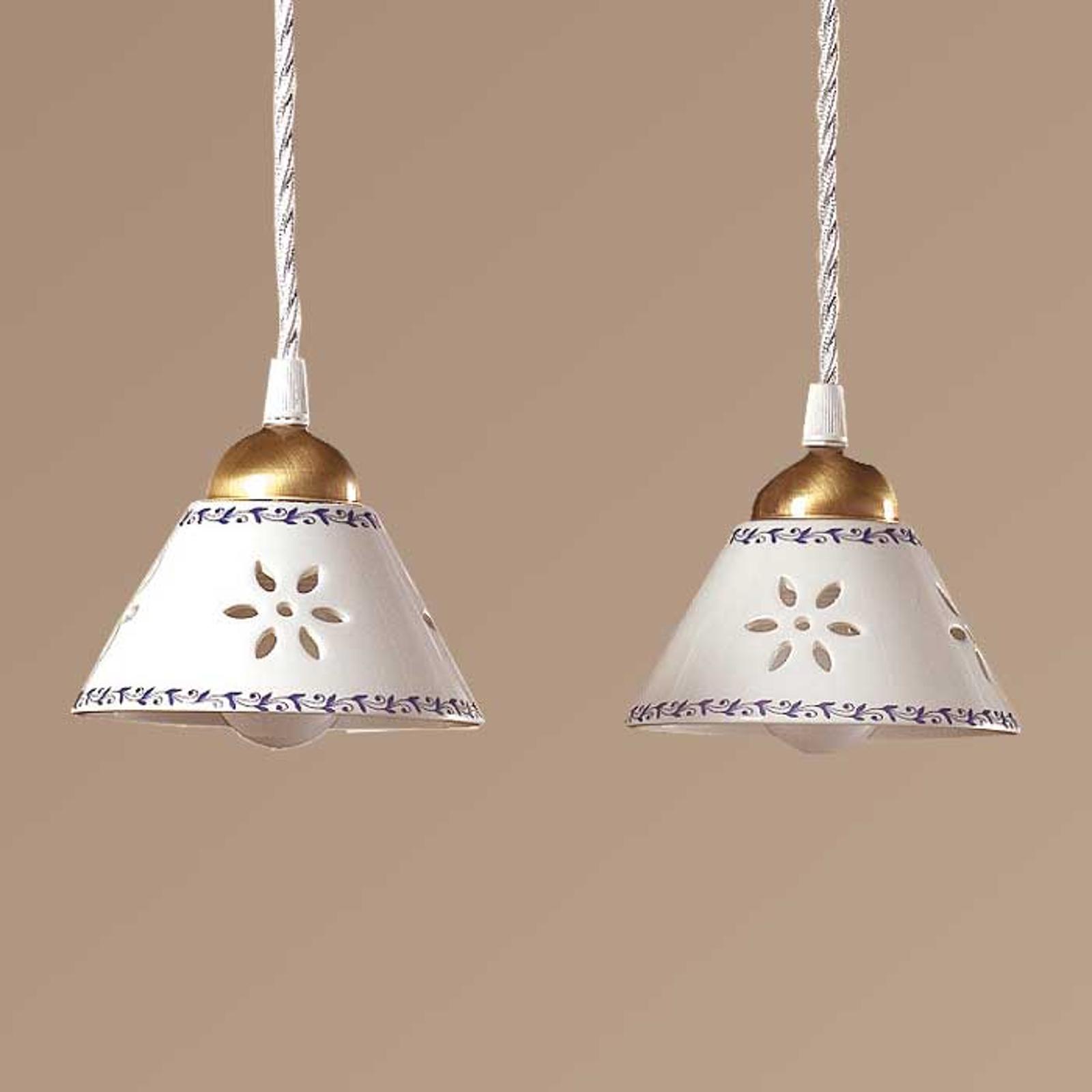 Hængelampe NONNA i hvid keramik, med 2 lyskilder